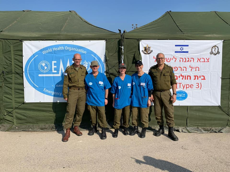 Prof. Ofer Merin, Director General of SZMC along with 5 members of the staff who are part of the I.D.F. Field Hospital demonstrate best practices at international conference